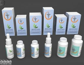 Medicines in boxes and bottles 3D