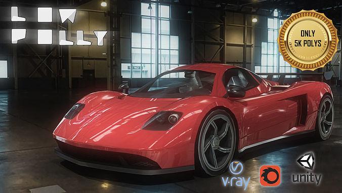 mclaren concept car 3d model low-poly max obj mtl fbx tga unitypackage prefab 1
