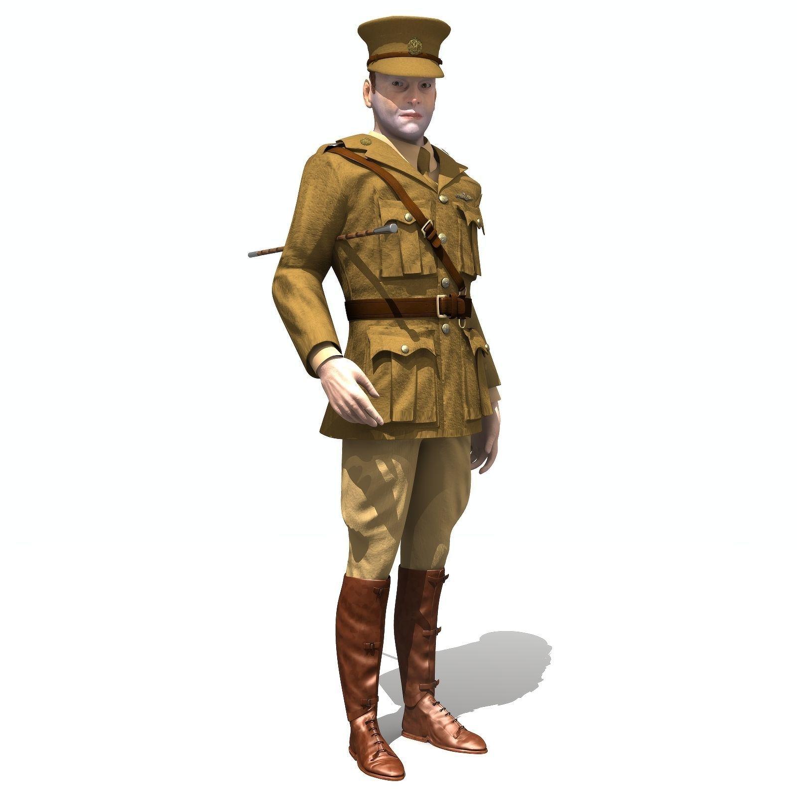 Aviator WWI British Pilot - Low poly - rigged - animated