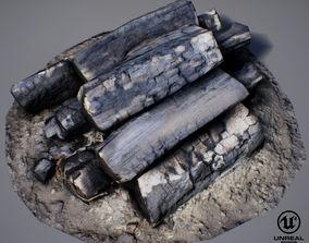 Burnt Firewood - Game Ready 3D asset