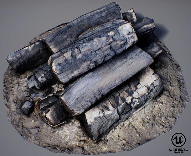 burnt firewood - game ready 3d model low-poly max obj mtl fbx uasset 1