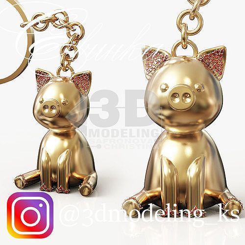 pig piggy 3d model obj mtl 3ds stl 3dm 1
