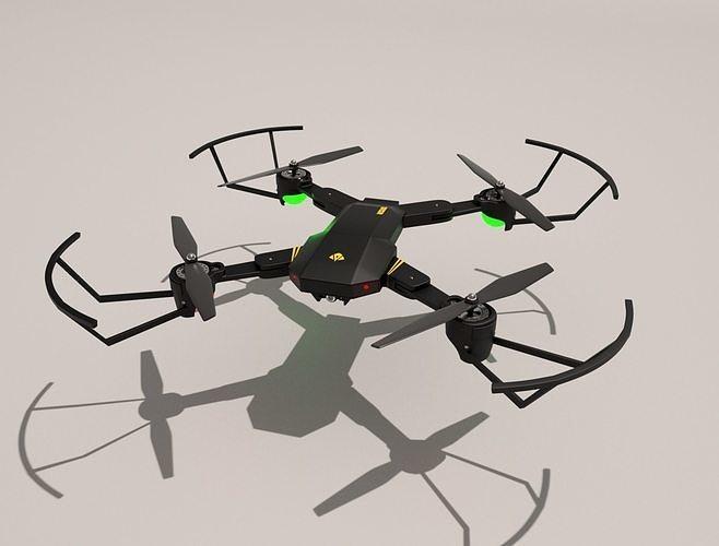 visuo xs809hw mini rc drone quadrocopter 3d model obj mtl fbx c4d 1
