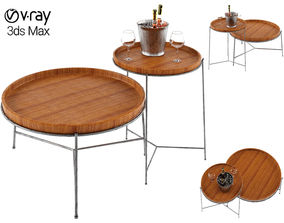 3D model Remy Coffee Table with wine and glasses