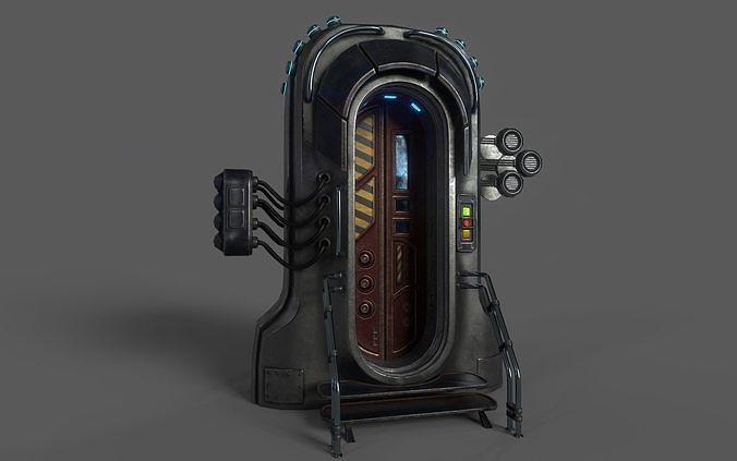 sci-fi door 05 3d model max obj mtl 3ds fbx 1