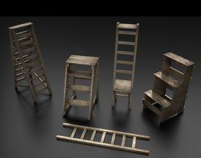 3D model VR / AR ready Wood Ladder Pack