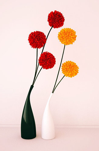 3d Model Ceramic Vases And Flowers Cgtrader