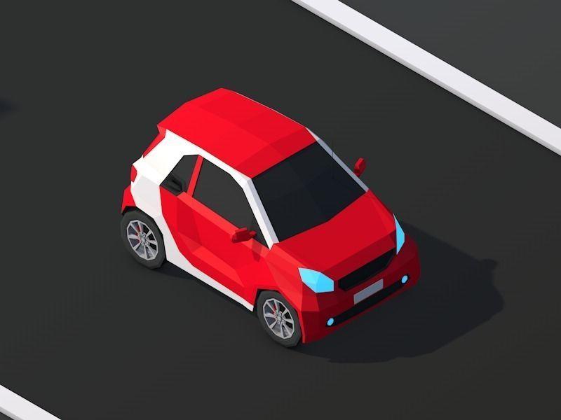 Cartoon Low Poly Smart Mini Car