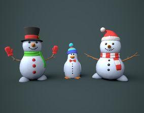 Snowmen Stylized 3D asset