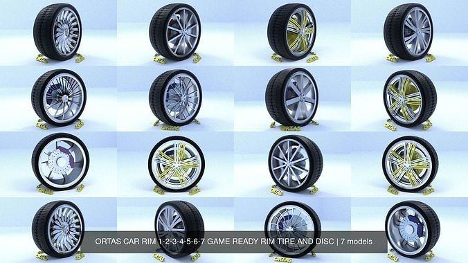 ortas car rim 1-2-3-4-5-6-7 game ready rim tire and disc 3d model obj mtl fbx 1