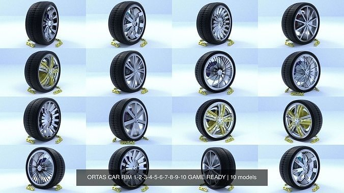 ortas car rim 1-2-3-4-5-6-7-8-9-10 game ready 3d model obj mtl fbx 1