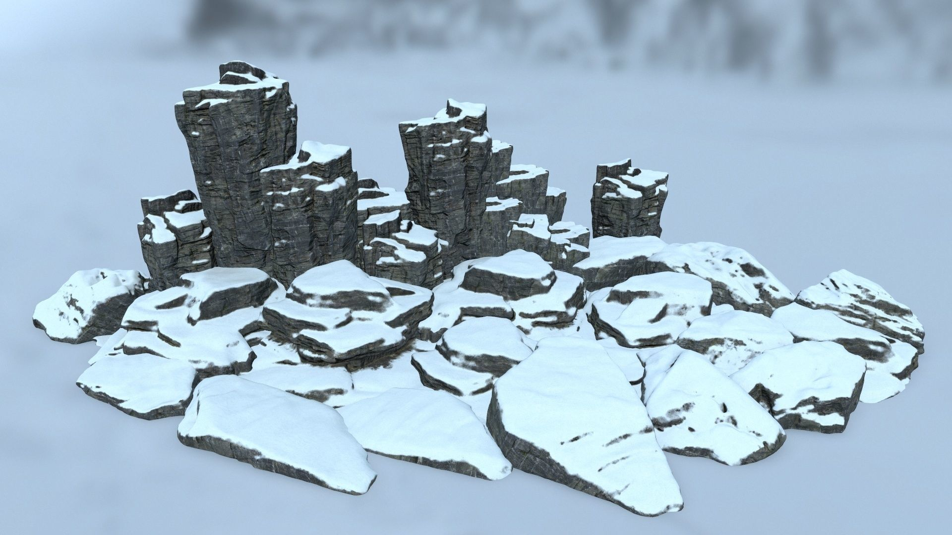 snow cliff rocks