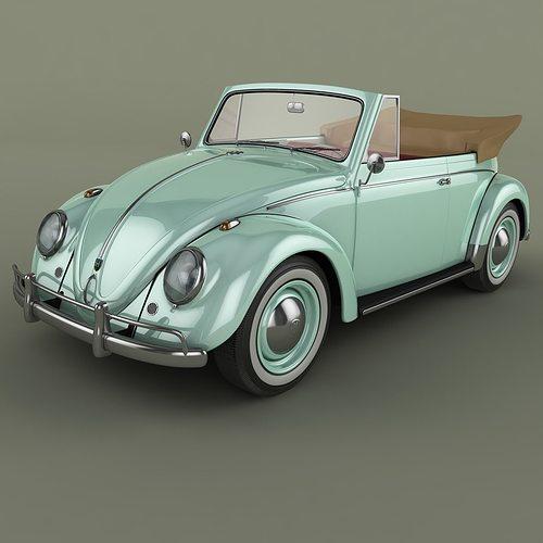 volkswagen beetle  cabrio 3d model max obj 3ds fbx 1