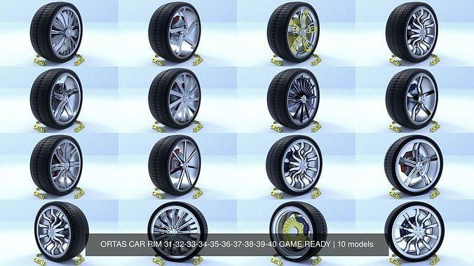 ortas car rim 31-32-33-34-35-36-37-38-39-40 game ready 3d model obj mtl fbx 1