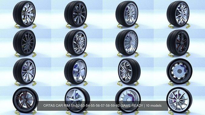ortas car rim 51-52-53-54-55-56-57-58-59-60 game ready 3d model obj mtl fbx 1