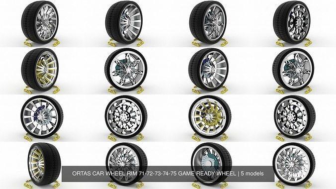 ortas car wheel rim 71-72-73-74-75 game ready wheel 3d model obj mtl fbx blend 1
