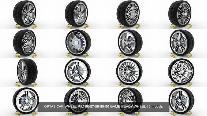 ortas car wheel rim 86-87-88-89-90 game ready wheel 3d model obj mtl fbx blend 1