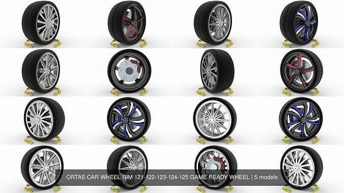 ortas car wheel rim 121-122-123-124-125 game ready wheel 3d model obj mtl fbx blend 1