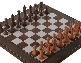 wooden chess 3D asset