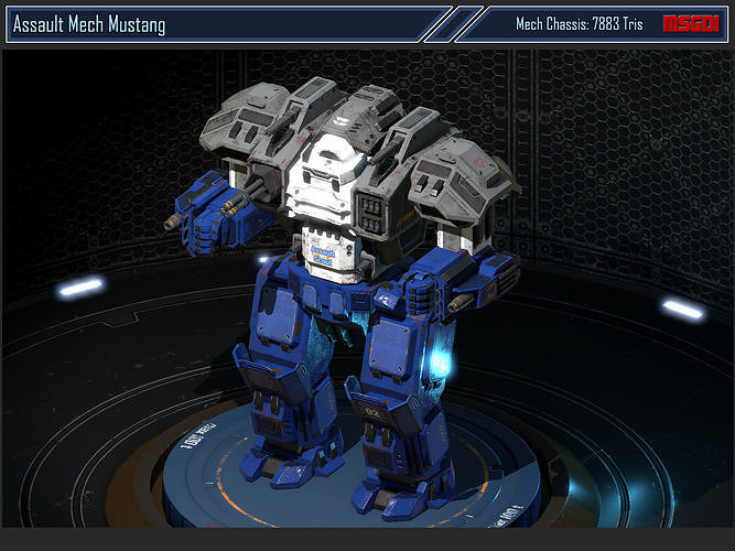 assault mech mustang 3d model low-poly rigged animated fbx unitypackage prefab pdf 1