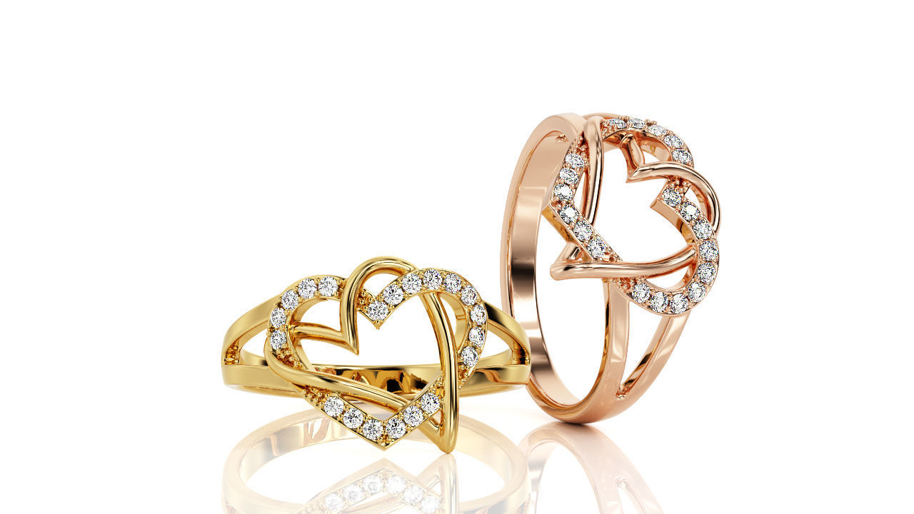 Two Hearts Ring Fashion Ring R 0143