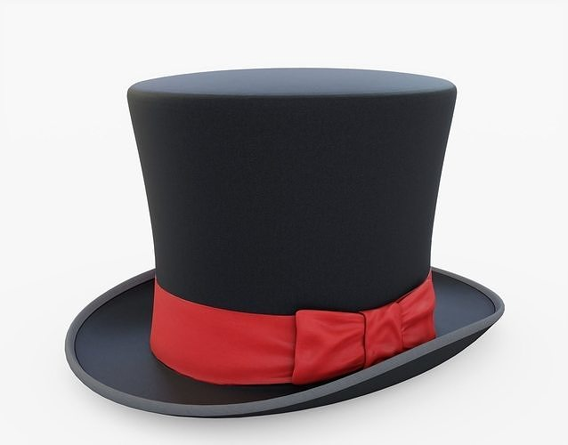 top hat 3d model low-poly obj mtl 3ds fbx stl blend 1