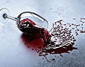 Fallen glass of wine 3D model