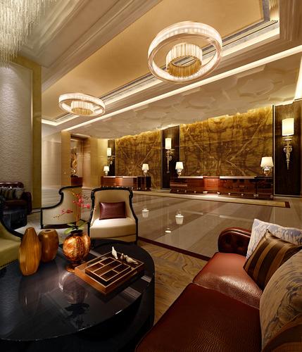 posh hotel lobby photo real 3d model max 1