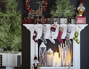 False fireplace with Christmas 3D model 1