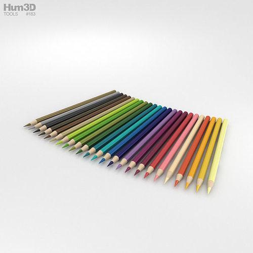 colored pencils 3d model max obj mtl 3ds fbx c4d lwo lw lws 1