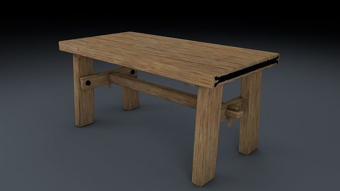Medieval Table Chair And Bench Set 3d Cgtrader
