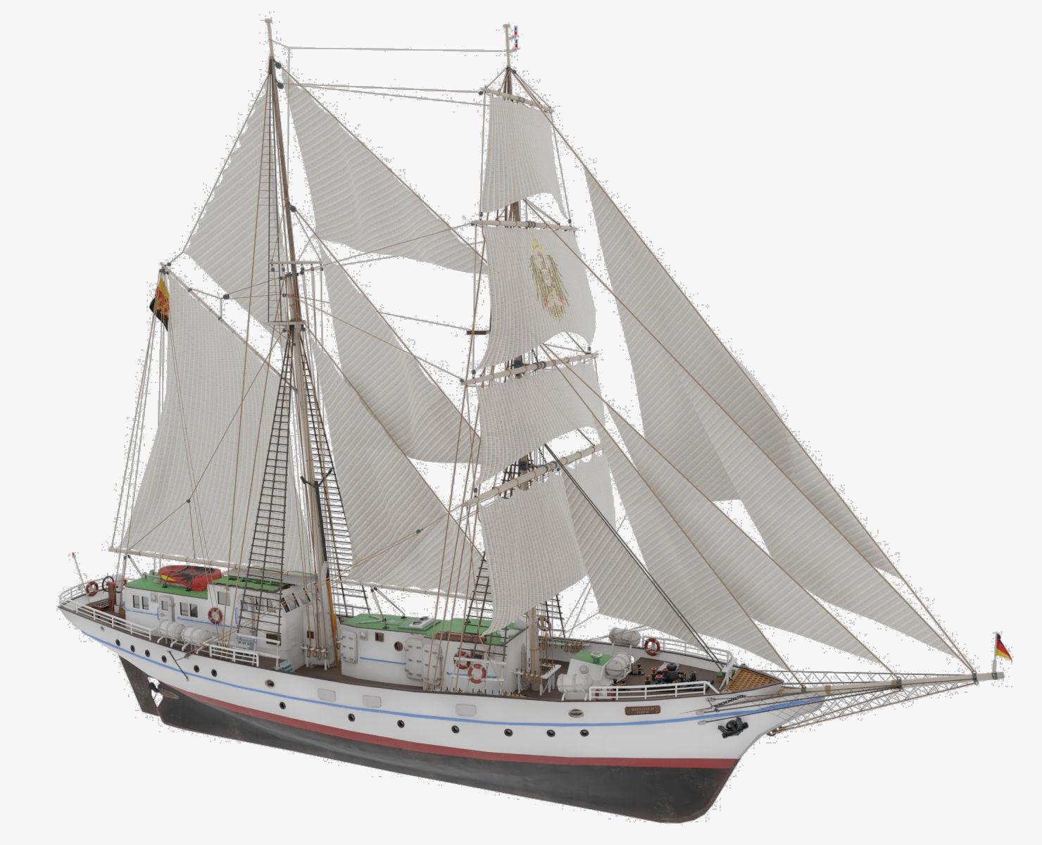 3D model of brigantine Grief ex Wilhelm Pieck