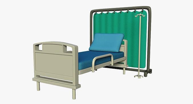 hospital bed 3d model obj mtl fbx ma mb 1