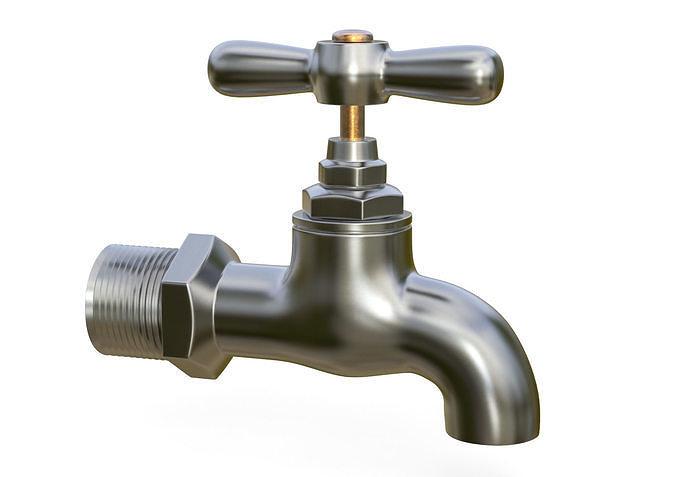 water tap metal 3d model max obj mtl fbx c4d 1