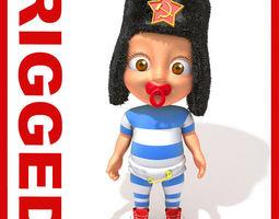 Russian baby Cartoon Rigged  3D Model