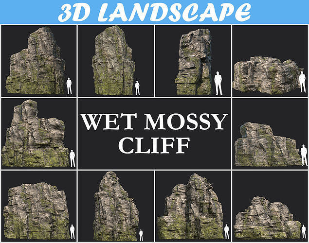 low poly wet mossy blocky rock cliff pack 3d model max obj mtl 3ds fbx dae 1