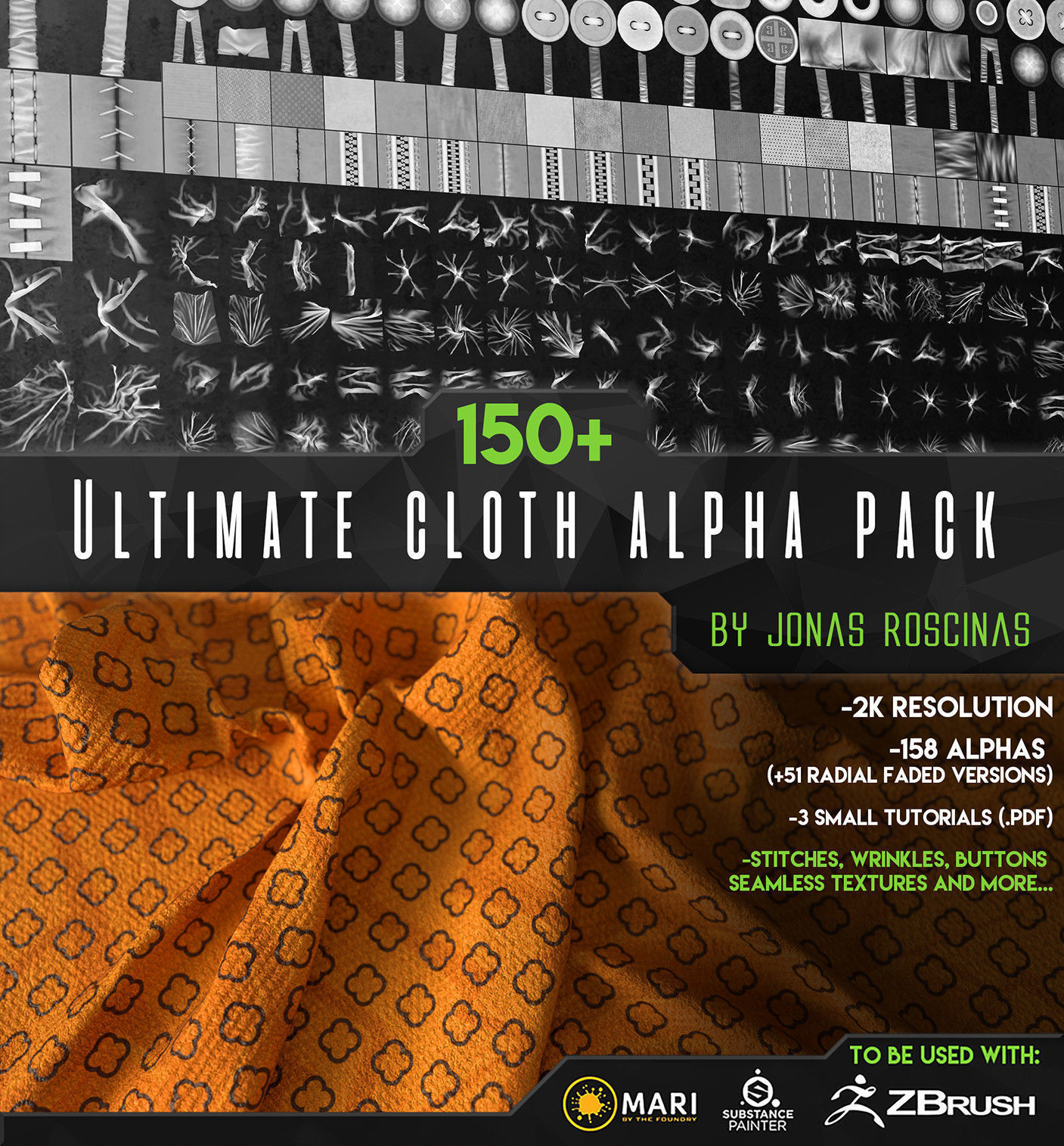 150 Ultimate Cloth Alpha Pack by J Roscinas | Texture