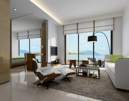 photo real living room 3D model