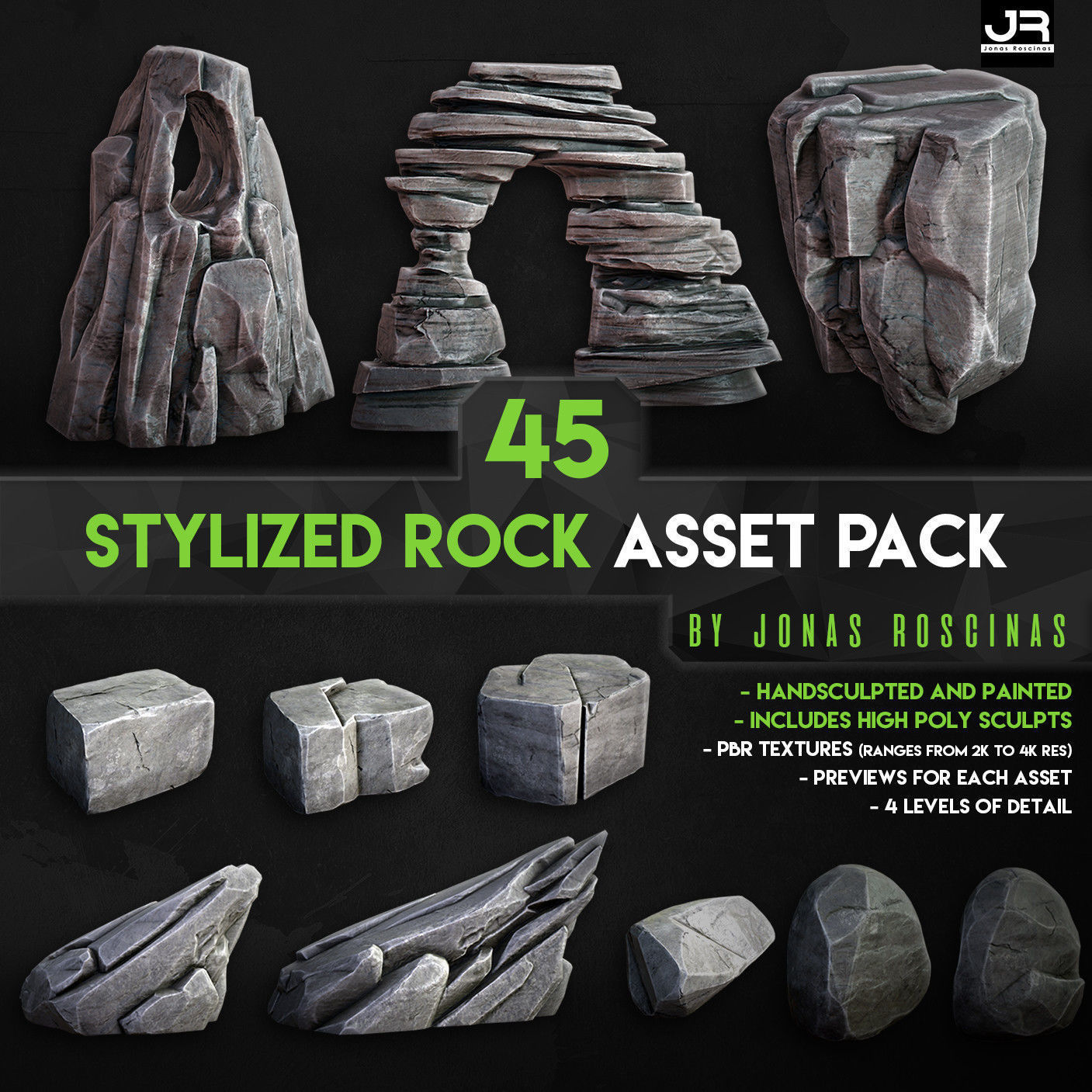 Stylized Rock Asset Pack by J Roscinas