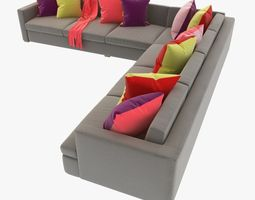 great room sectional sofa with pillows 3d model max obj 3ds fbx