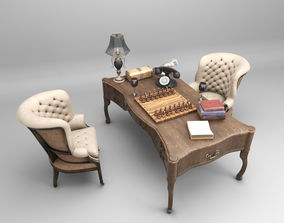 Highpoly Textured Vintage Office Vray Maya 3D