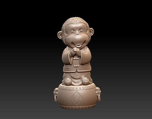 monkey happy new year 3d model obj mtl stl 1