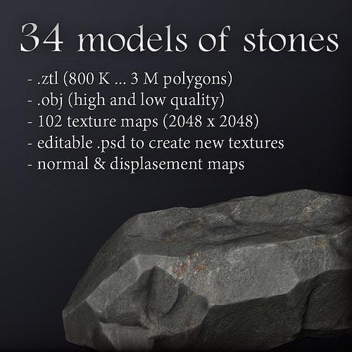 34 high res stones models 3d model obj mtl ztl 1