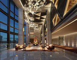 3D skyscraper hotel lobby
