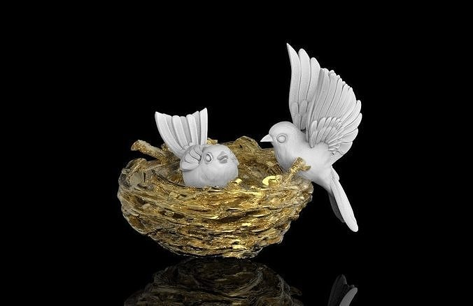 birds in the nest 3d model max obj mtl stl 1
