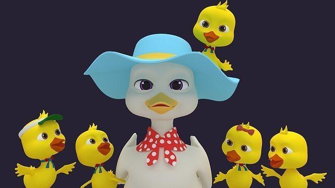 asset - cartoons - character - duck - hight poly 3d model rigged max obj mtl fbx ma mb hrc xsi tga 1