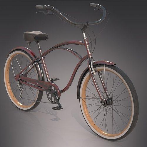 realistic cruiser beach bicycle  3d model max obj mtl fbx tga 1