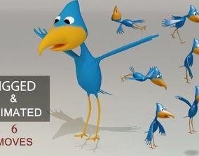 Animated Cartoon Bird - Game Ready 3D model