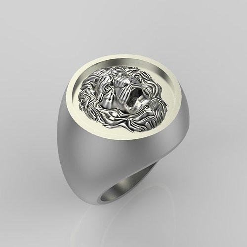 Ring design with lion 3dm stl 3D print model