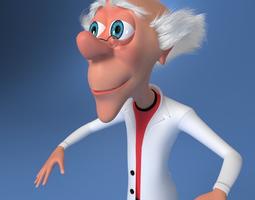 mad scientist cartoon rigged 3d model max